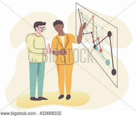 Illustration Of A Business Concept. Business Partners, A Light-skinned Person And An African-america