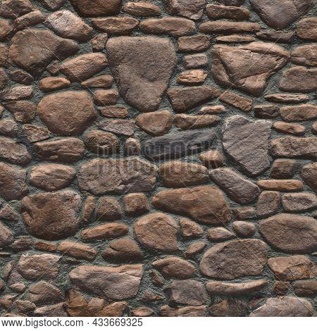 Random Masonry Around The Stone Wall. Stone Wall Texture Background, Stone Wall Panorama, Masonry Ba
