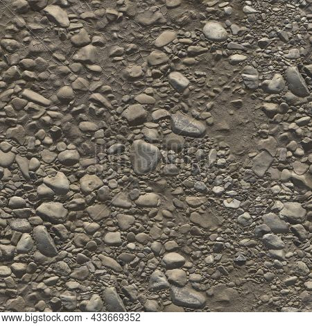 River Pebbles In Dry Mud. A Dried-up Streambed, Stones Of Different Sizes And Dry Clay. Background O