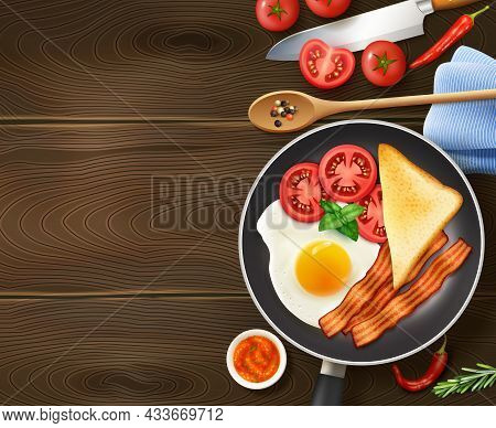Breakfast In Frying Pan Appetizing Realistic Top View Image Of Egg Bacon Tomatoes Dark Wood Backgrou