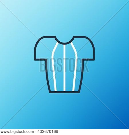 Line Cycling T-shirt Icon Isolated On Blue Background. Cycling Jersey. Bicycle Apparel. Colorful Out