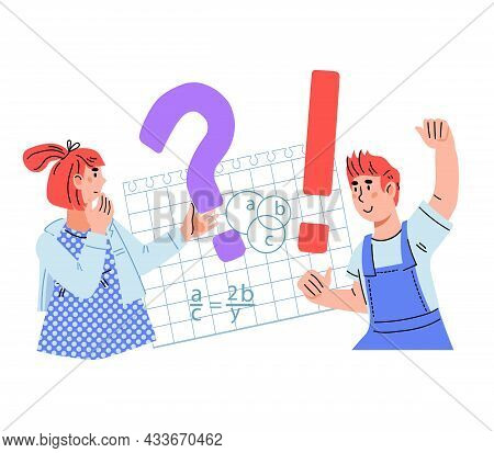 Children Studying, Asking Question And Solving Tasks, Flat Cartoon Vector Illustration Isolated On W