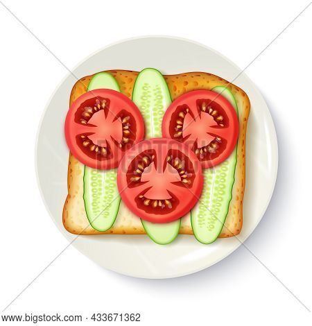 Healthy Breakfast Idea Of Wholegrain Bread With Fresh Tomato And Cucumber Slices Appetizing Top View