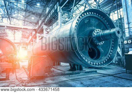 Big Steel Cylinder Tube Or Pipe As Abstract Industrial Background. Metalworking Factory. Heavy Indus