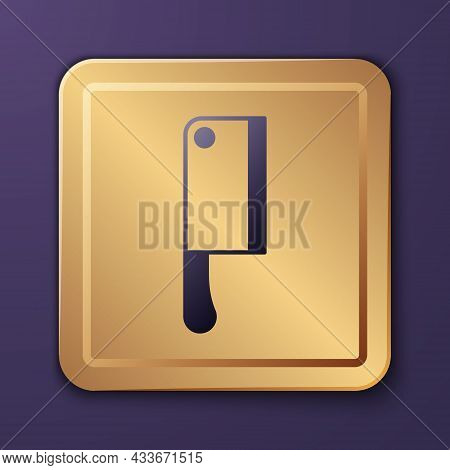 Purple Meat Chopper Icon Isolated On Purple Background. Kitchen Knife For Meat. Butcher Knife. Gold