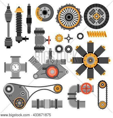 Machinery Parts Set With Different Industrial And Technical Elements On White Background Isolated Ve