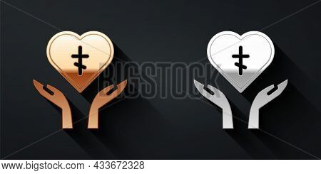 Gold And Silver Religious Cross In The Heart Inside Icon Isolated On Black Background. Love Of God,