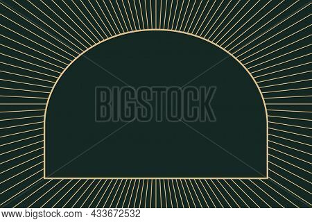 Gold art deco frame on dark green background