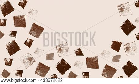 Brown block print background with uneven square stamp