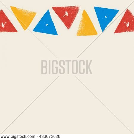 Colorful triangle block print border on beige background