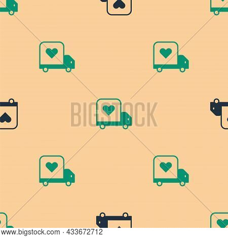 Green And Black Delivery Truck With Heart Icon Isolated Seamless Pattern On Beige Background. Love D