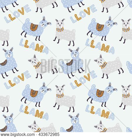 Pastel Colored Seamless Pattern Of Lamas And Text Llama Llove. Perfect For T-shirt, Textile And Prin