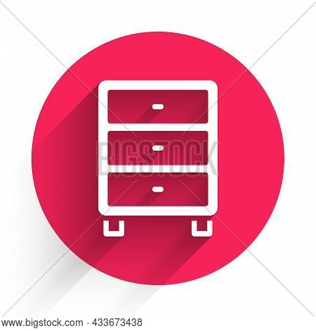 White Archive Papers Drawer Icon Isolated With Long Shadow Background. Drawer With Documents. File C