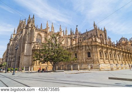 SEVILLE, SPAIN - 08 AUGUST, 2021: The Cathedral of Saint Mary of the See, better known as Seville Cathedral, is a Roman Catholic cathedral in Seville, Andalusia, Spain