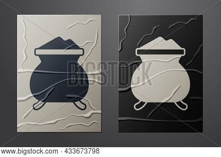 White Molten Gold Being Poured Icon Isolated On Crumpled Paper Background. Molten Metal Poured From
