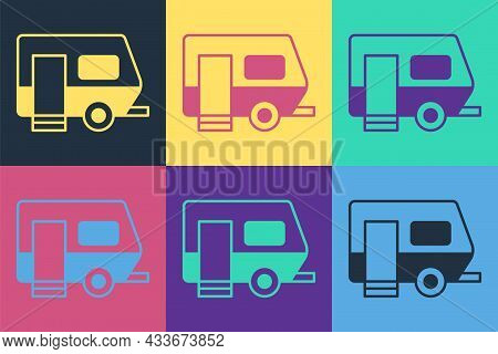 Pop Art Rv Camping Trailer Icon Isolated On Color Background. Travel Mobile Home, Caravan, Home Camp