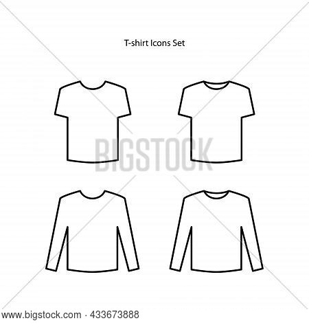 T Shirt Icons Set Isolated On White Background From Wardrobe Collection. T Shirt Icon Thin Line Outl