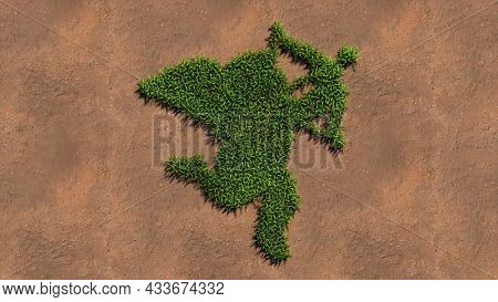 Concept conceptual green summer lawn grass symbol shape on brown soil or earth background, sign of baby Cupid with an arrow. 3d illustration metaphor for love, romance, valentine's day and happiness