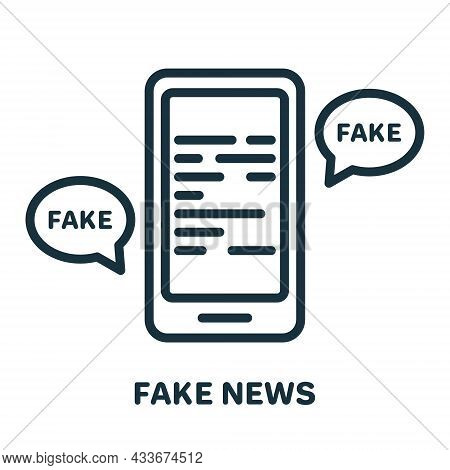 Fake News On Mobile Phone Line Icon. Disinformation Concept. Hoax, Fake, False On Smartphone Linear