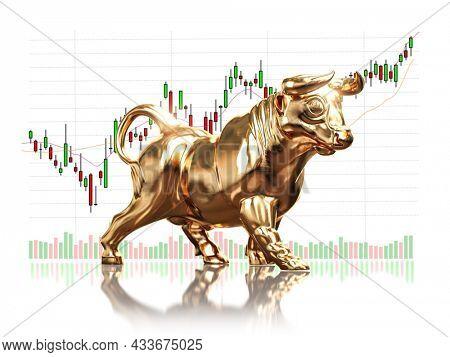 Golden bull  on stock market data. Bull market on financial stock exchange market. 3d illustration