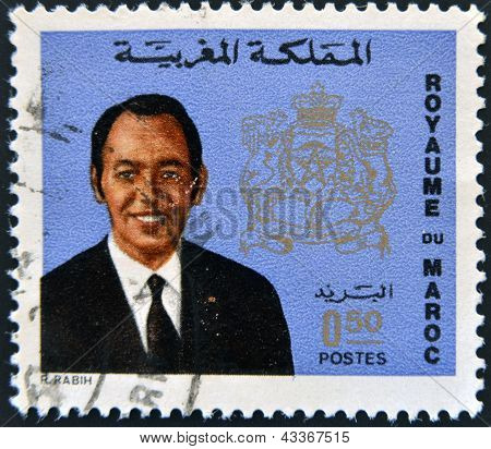 MOROCCO - CIRCA 1973 stamp printed in Morocco shows King Hassan II circa 1973 poster