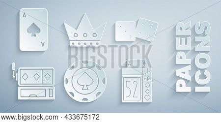 Set Casino Chips, Game Dice, Slot Machine, Deck Of Playing Cards, King And Playing With Spades Icon.
