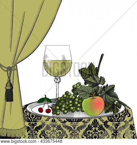 Wine list template with grapes, curtain, bottle, wineglass. Vintage color engraving stylized drawing.