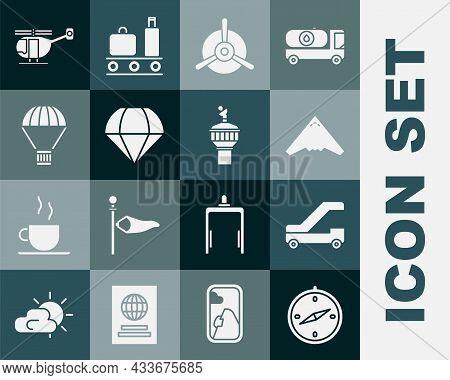 Set Compass, Passenger Ladder For Plane Boarding, Jet Fighter, Plane Propeller, Parachute, Box Flyin