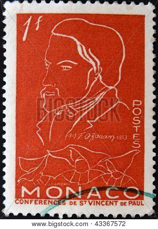 MONACO - CIRCA 1954: stamp printed by Monaco, shows Frederic Ozanam, circa 1954