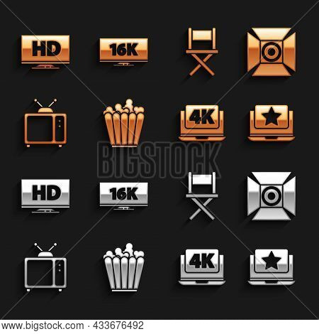 Set Popcorn In Box, Movie Spotlight, Laptop With Star, 4k Video, Retro Tv, Director Movie Chair, Sma