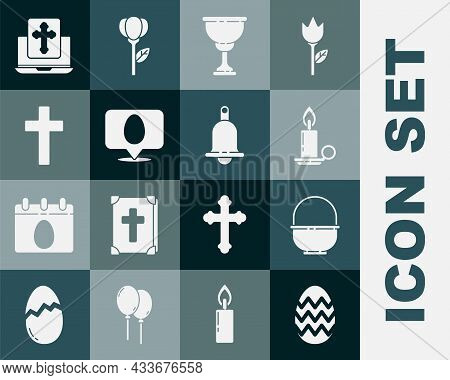 Set Easter Egg, Basket, Burning Candle In Candlestick, Christian Chalice, Speech Bubble With Easter,