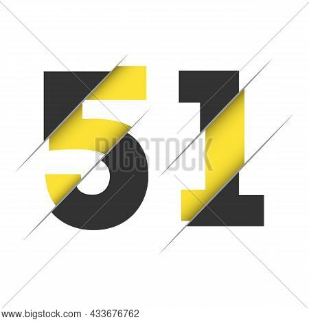 51 5 1 Number Logo Design With A Creative Cut And Black Circle Background. Creative Logo Design.