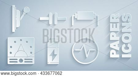 Set Battery, Resistor Electricity, Ampere Meter, Multimeter, Voltmeter, Electric Circuit Scheme, And