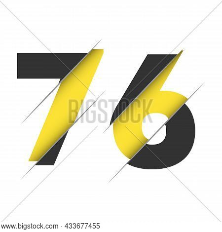 76 7 6 Number Logo Design With A Creative Cut And Black Circle Background. Creative Logo Design.