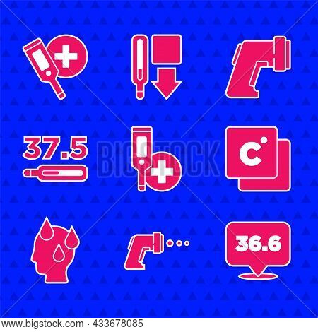 Set Digital Thermometer, Medical, Celsius, High Human Body Temperature, And Icon. Vector