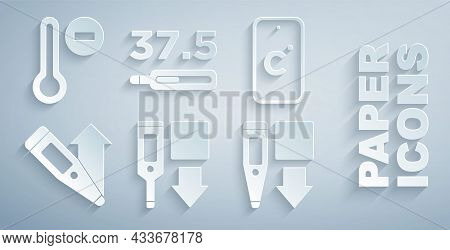 Set Digital Thermometer, Celsius, Medical And Meteorology Icon. Vector