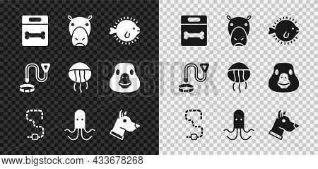 Set Dog Bone, Hippo Or Hippopotamus, Puffer Fish, Worm, Octopus, Head, Collar With Name Tag And Jell