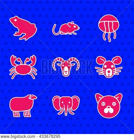 Set Head Of Goat Or Ram, Elephant, Cat, Rat Head, Sheep, Crab, Jellyfish And Frog Icon. Vector