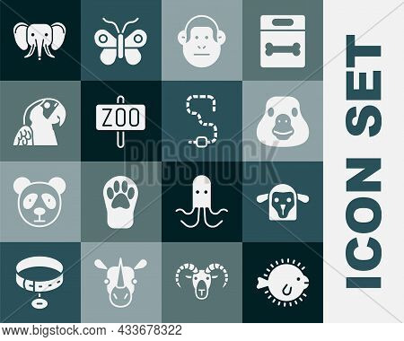 Set Puffer Fish, Sheep Head, Goose Bird, Monkey, Zoo Park, Macaw Parrot, Elephant And Worm Icon. Vec