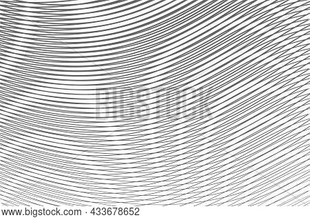 Calm Monochrome Abstract Grey Texture With Rounded Lines And Moire Effect. Grey Monochrome Backgroun