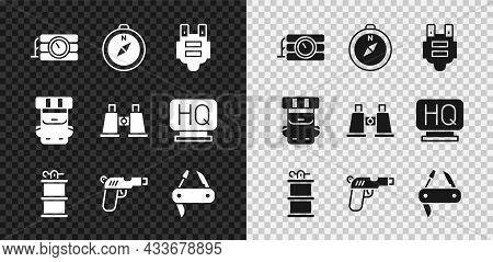 Set Dynamite And Timer Clock, Compass, Bulletproof Vest, Hand Smoke Grenade, Pistol Or Gun, Swiss Ar