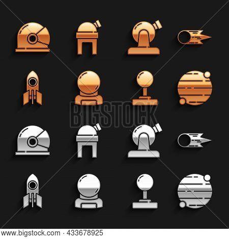 Set Astronaut Helmet, Comet Falling Down Fast, Planet, Joystick, Rocket Ship, Astronomical Observato