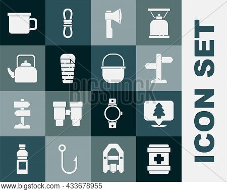 Set First Aid Kit, Location Of The Forest, Road Traffic Signpost, Wooden Axe, Sleeping Bag, Kettle W
