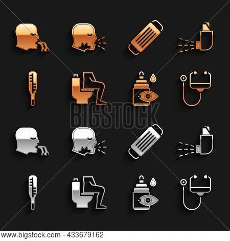 Set Constipation, Inhaler, Stethoscope, Eye Drop Bottle, Medical Thermometer, Protective Mask, Vomit