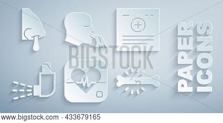 Set Heart Rate, Clinical Record, Inhaler, Bone Pain, Vomiting Man And Runny Nose Icon. Vector
