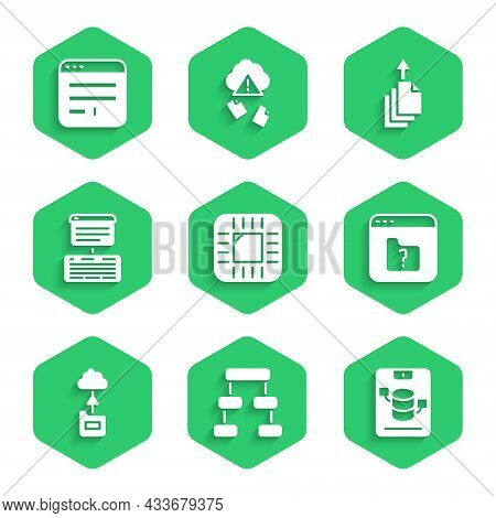 Set Processor With Cpu, Hierarchy Organogram Chart, Server, Data, Web Hosting, File Missing, Cloud T