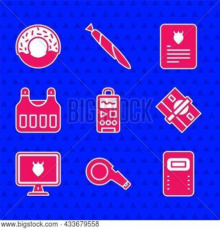Set Dictaphone, Whistle, Police Assault Shield, Stacks Paper Money Cash, Database, Bulletproof Vest,
