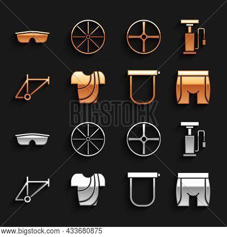 Set Cycling T-shirt, Bicycle Air Pump, Shorts, Lock, Frame, Wheel, Sport Cycling Sunglasses And Icon