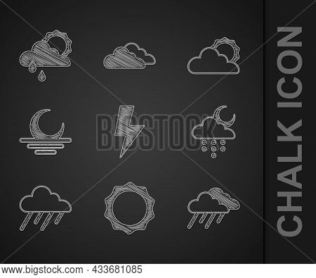 Set Lightning Bolt, Sun, Cloud With Rain, And Moon, Sunset, Cloud Weather And Sun Icon. Vector