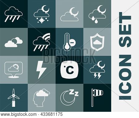 Set Cone Windsock Wind Vane, Storm, Weather Forecast, Cloud With Moon, Rainbow Cloud And Rain, Sun W